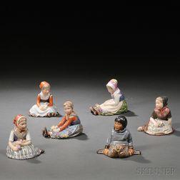 Six Royal Copenhagen Porcelain Figures of Children