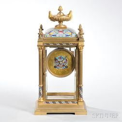 French Brass and Cloisonne Mantel Clock