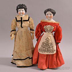 Two China Shoulder Head Dolls