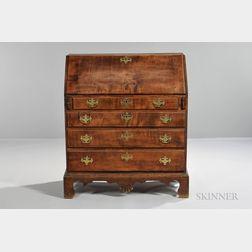 Carved Maple and Tiger Maple Slant-lid Desk