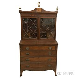Federal Glazed and Inlaid Mahogany Secretary/Bookcase