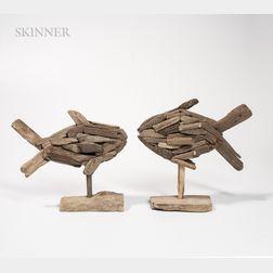 Bernard Langlais (American, 1923-1977)      Two Driftwood Fish Sculptures