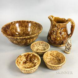 Ten Rockingham-glazed Ceramic Items