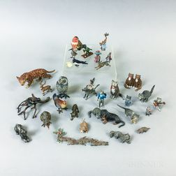 Thirty-one Cold-painted Bronze Animals