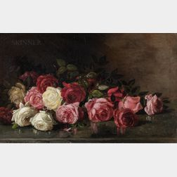 Benjamin Champney (American, 1817-1907)      Still Life with Roses