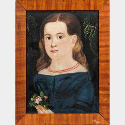 Prior/Hamblen School, Mid-19th Century      Portrait of a Girl in Blue Dress