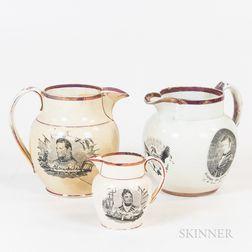 Three Sunderland Historical Transfer-decorated Ceramic Jugs