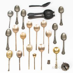Group of Continental Brass and Pewter Spoons