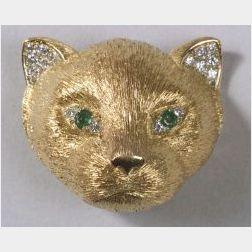 Yellow Gold and Diamond Cat Head Brooch