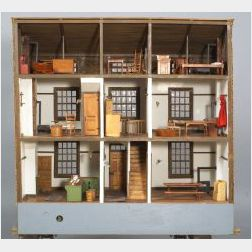 Shaker Style Wooden Doll House with Miniature Shaker Furnishings