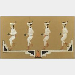 Julian Martinez (San Ildefonso, 1897-1943)  Watercolor on Brown Paper depicting Four Pueblo Dancers