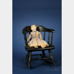 Three Dolls and a Child's Painted Pine Rocker