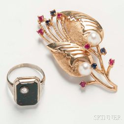 14kt White Gold, Bloodstone, and Diamond Ring and a 14kt Gold Gem-set, and Cultured Pearl Spray Brooch