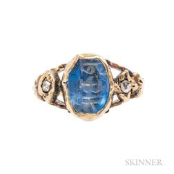 Gold, Engraved Sapphire, and Enamel Ring