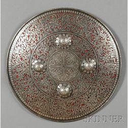 Indo-Persian Silver Inlaid Decorative Steel Shield
