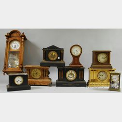 Eight Mantel Clocks and a Wall Clock