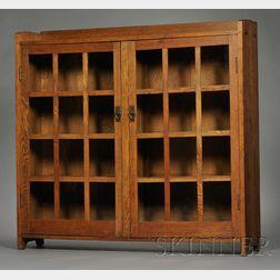Gustav Stickley Arts & Crafts Oak Glazed Bookcase