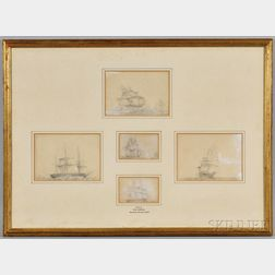 """Five Pencil and Gouache Sketches """"Drawn by Vice-Admiral The Hon. Sir Chas Paget"""" Framed Together"""
