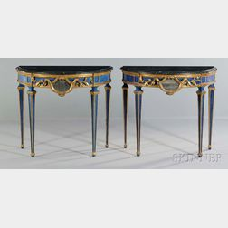 Pair of Italian Neoclassical-style Painted and Marble-top Demilune Console Tables