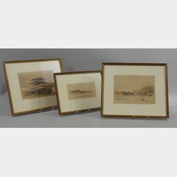 Edward Clarke Cabot (American, 1818-1901)      Three Rhode Island Scenes: Barney's Joy ,  Smith's Neck
