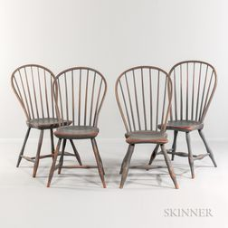 Assembled Set of Four Gray/Blue-painted Bow-back Windsor Chairs