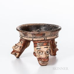 Pre-Columbian Polychrome Tripod Bowl