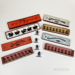 Four Sets of Boxed Britains Painted Pewter Soldiers and Four Alpine Skiers