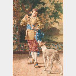 Antonio Canella (Italian, 1849-1922)      Cavalier with His Dog