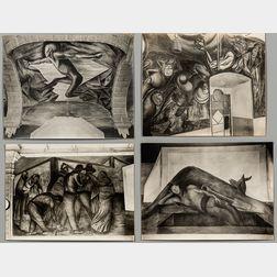 Tina Modotti (Italian, 1896-1942)      Four Photographs of José Clemente Orozco's Scene della Rivoluzione