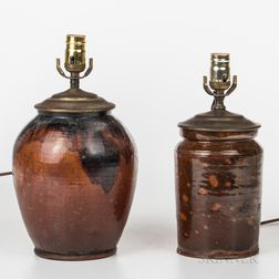 Two Redware Jars Mounted as Lamps
