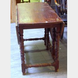 Painted William & Mary Style Drop-leaf Gate-leg Table.