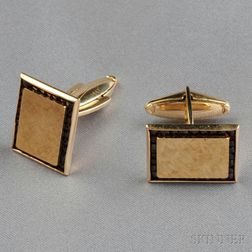 14kt Gold and Garnet Cuff Links, Lucien Piccard