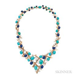 18kt Gold, Turquoise, Lapis, and Diamond Necklace, Marianne Ostier