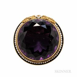 Antique 14kt Gold and Amethyst Brooch