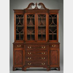 George III-style Carved Glazed Mahogany Breakfront Desk/Bookcase