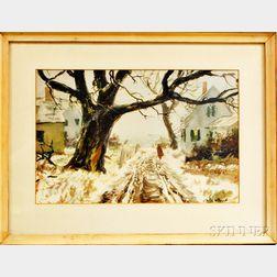 Framed John Whorf Collotype of a Winter Scene