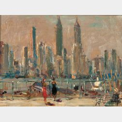 Vladimir Lebedev (Russian/American, 1910-1991)      View of the Manhattan Skyline