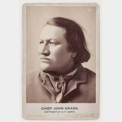 "Framed Cabinet Card Photograph of ""Chief John Grass"" by D.F. Barry"