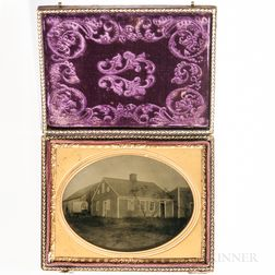 Quarter-plate Ambrotype of an Early Center Chimney House