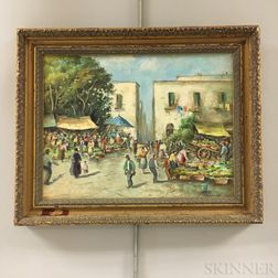 Attributed to Augusto Moriani (Italian, fl. 1881-1907)    Two Framed Market Scenes