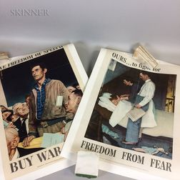 After Norman Rockwell (American, 1894-1978) Set of Four Unframed Four Freedoms War Bond Posters: Freedom from Want, Freedom of Speech,
