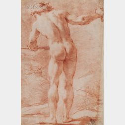 Ubaldo Gandolfi (Italian, 1728-1781)      Standing Male Nude Seen from Behind, His Right Arm Outstretched