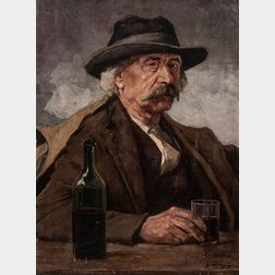 Árpád Feszty (Hungarian, 1856-1914)      Portrait of a Man with a Drink