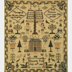 Needlework Adam and Eve Sampler