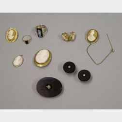 Six Pieces of Victorian Cameo Jewelry, a 14kt Gold Intaglio Ring, and an Onyx Brooch and Cuff Buttons Suite.