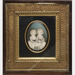 Portrait Miniature of Twins Charles and Henry Tebay with a Lamb