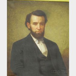 Framed Oil on Canvas Portrait of a Gentleman Attributed to Nicholas Biddle   Kittell (1822-1894)