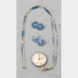 Edwardian 18kt Gold, Platinum, and Enamel Pendant Watch, Dreicer & Co.