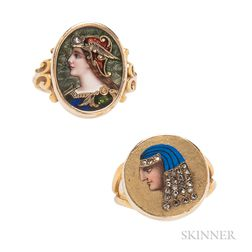 Two Antique Enamel and Diamond Rings