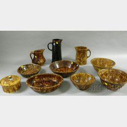 Ten Pieces of Rockingham Glazed Kitchenware